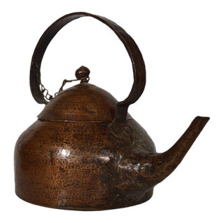 Vintage Hand-Hammered Copper Teapot with Patina from 20th Century, India For Sale
