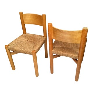Charlotte Perriand Pair of Ash Tree and Rush Chairs