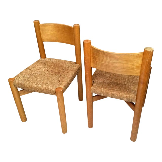 Charlotte Perriand Pair of Ash Tree and Rush Chairs For Sale