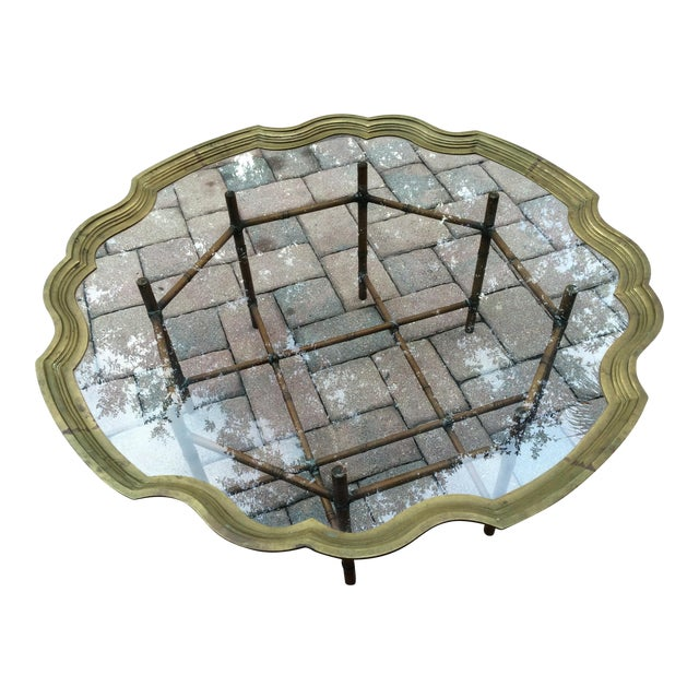 La Barge Scalloped Solid Brass Tray, Faux Bamboo Metal Base Coffee Table - Image 1 of 8