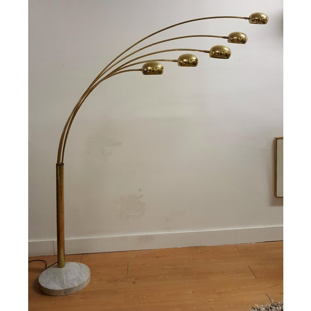 Mid Century Brass Standing 5 Arm Arc Lamp With Marble Base - Image 3 of 7