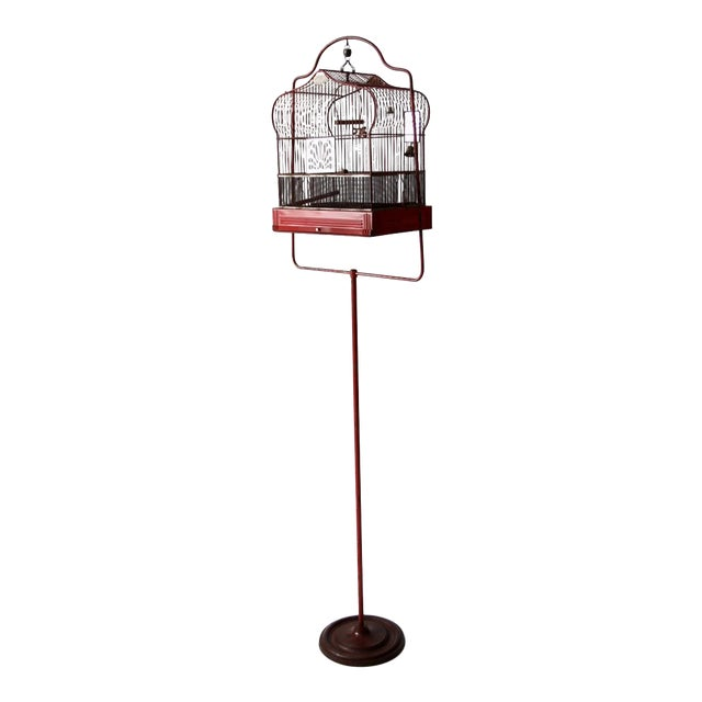 Antique Crown Bird Cage With Stand For Sale
