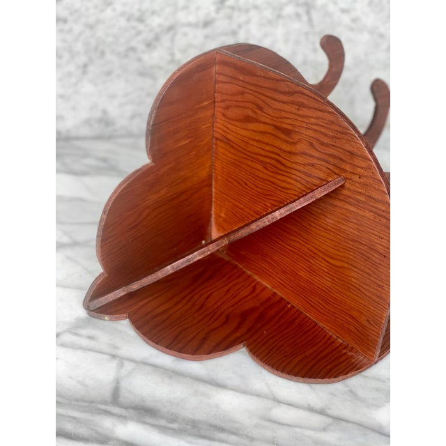 Brown Vintage Farmhouse Carved Maple Wall Corner Hanging Plant Shelf For Sale - Image 8 of 9
