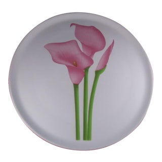 Vintage Pink Calla Lily Serving Platter For Sale