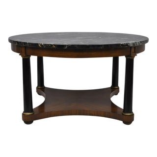 Antique Round Marble Top Empire Style Coffee Table