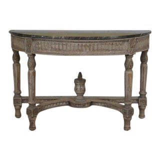 Marble Top Round Demi Lune Console Table