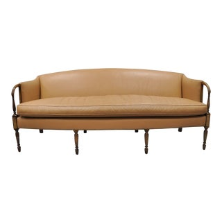 1993 Federal Style Southwood Caramel Tan Leather Sofa For Sale