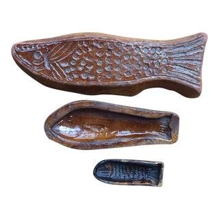 Glazed Terracotta Fish Shaped Molds - Set of 3