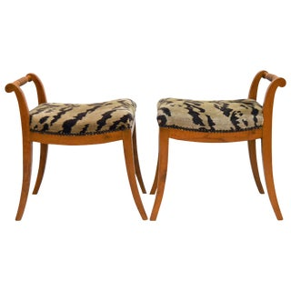 Pair of Swedish Karl Johan (Biedermeier) Bench Stools For Sale