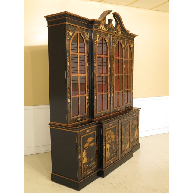 Paint 1980s Chinoiserie Decorated 4 Door Breakfront Bookcase For Sale - Image 7 of 13