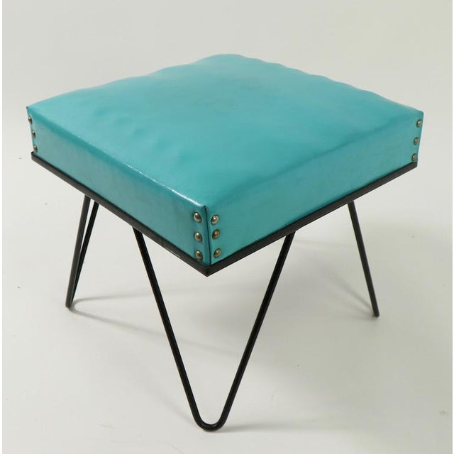 Metal Mid Century Hairpin Leg Stool Ottoman For Sale - Image 7 of 12