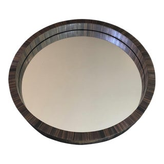 "Jean Royere Documented Rare ""Marqueterie De Paille"" Small Round Mirror For Sale"