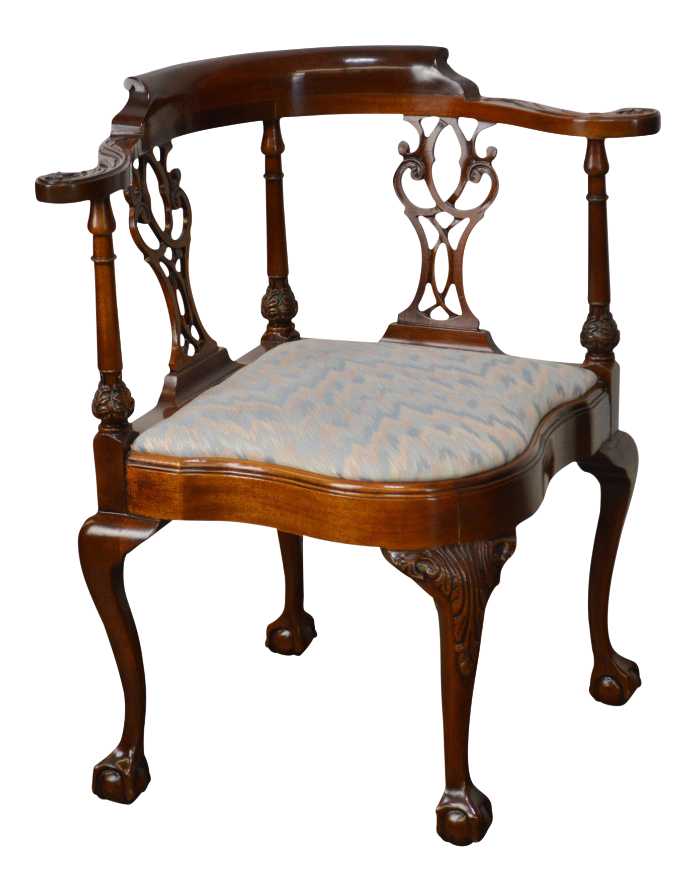 Southwood Solid Mahogany Chippendale Style Ball U0026 Claw Foot Corner Chair