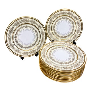 Antique Thun Gold Plates- Set of 11 For Sale