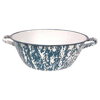 1940s French Country Teal Enamel Teal Basin For Sale