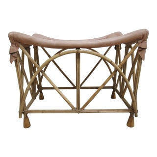 Vintage Leather Bamboo U-Shape Footstool