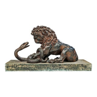 Lion and Serpent Sculpture After Antoine-Louis Barye (French 1795-1825) For Sale
