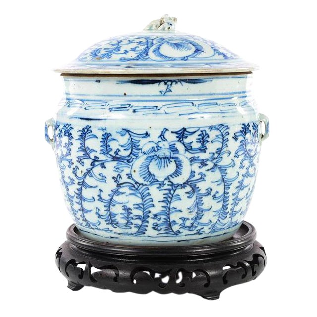 Chinese 19th C. Blue & White Porcelain Ginger Jar With Stand For Sale