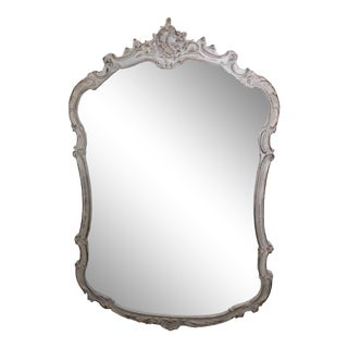 French Carved Louis XVI Style Painted Mirror
