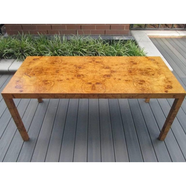 Very nice Milo Baughman console table. Would also look amazing as a hallway table. Nice burl grain.