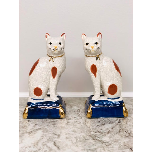 Vintage Fitz and Floyd Calico Cat Bookend Statues - a Pair For Sale - Image 9 of 9