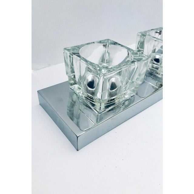 Silver Mid-Century Modern Chrome Wall Light With Cubist Design by Gaetano Sciolari For Sale - Image 8 of 13