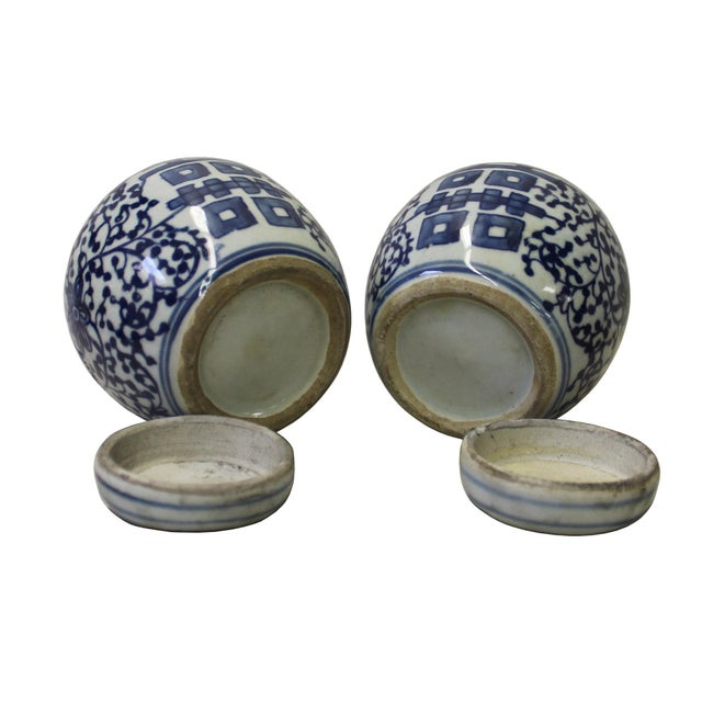 Pair Blue White Small Oriental Graphic Porcelain Ginger Jars - Image 4 of 5