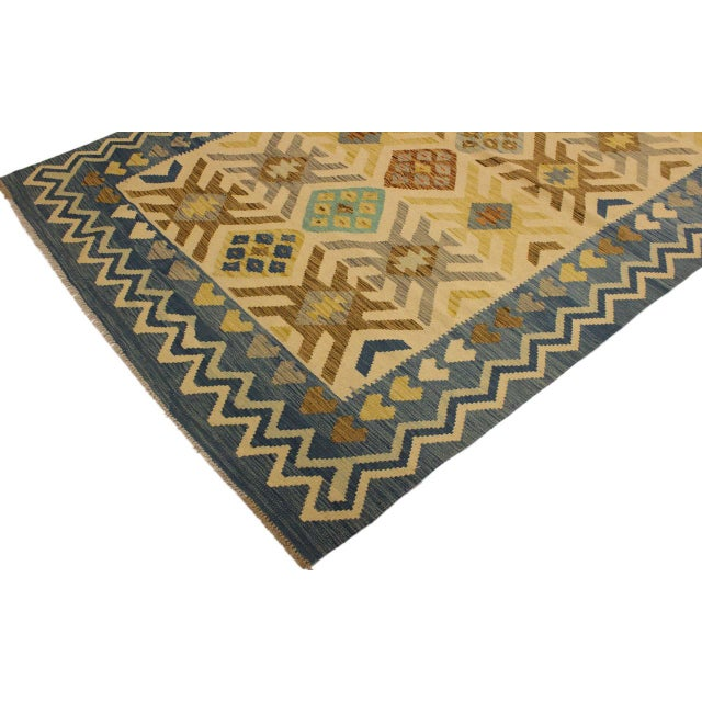 2000s Nancee Blue/Ivory Hand-Woven Kilim Wool Rug -5'6 X 8'5 For Sale - Image 5 of 8