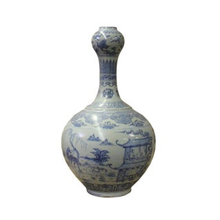 Chinese Blue Off White Porcelain Light Fade Scenery Graphic Vase For Sale