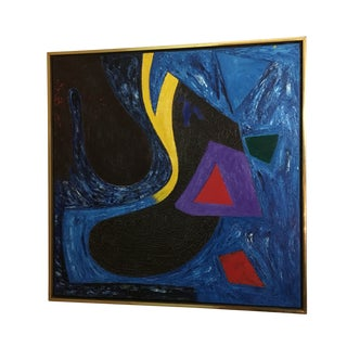 Vintage James Kelly Blue Abstract Painting For Sale