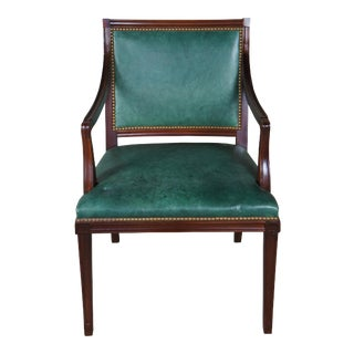 Hickory Chair Co. Green Leather Mahogany W Nailhead Office Chair For Sale