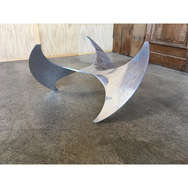 Silver Aluminum and Glass Propeller Table by Knut Hesterberg For Sale - Image 8 of 9