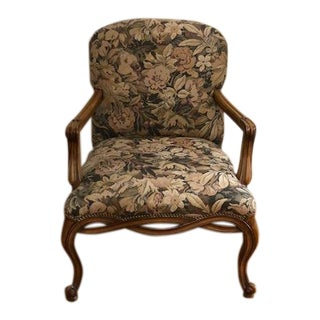 Vintage 1990s Queen Anne Style Print Upholstered Armchair For Sale