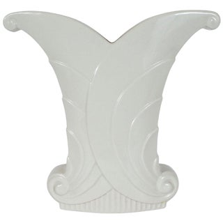 Art Deco White Porcelain Skyscraper Style Scroll Form Vase by Abingdon For Sale