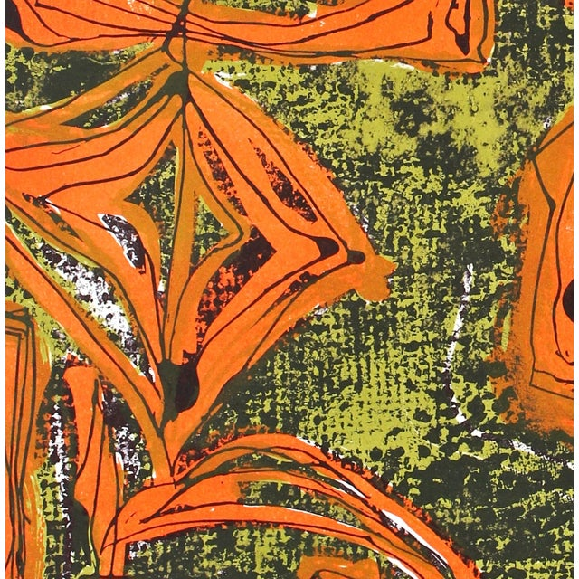 Abstract Mid-Century Tropical Abstract Lithograph, Circa 1950s For Sale - Image 3 of 4