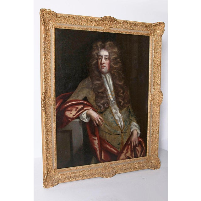 Baroque 18th Century Oil on Canvas Portrait of an English Gentleman For Sale - Image 3 of 13
