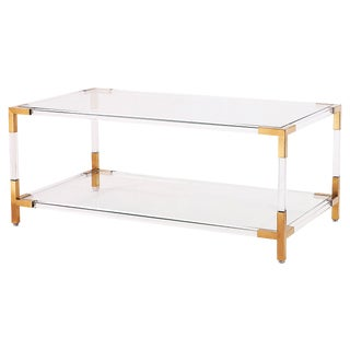 Gold & Acrylic Frame Coffee Table With Glass Shelves For Sale