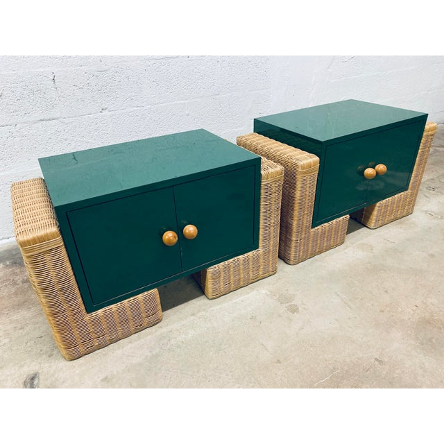 Milo Baughman Mid Century Modern Rattan Nightstands, 1970s - a Pair For Sale - Image 4 of 12