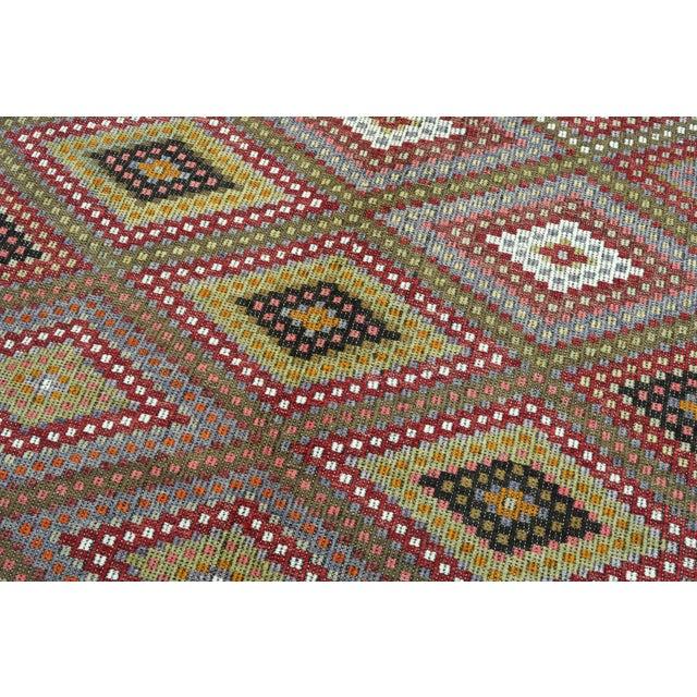 "Vintage Turkish Kilim Embroidered Rug-5'10'x11'3"" For Sale - Image 10 of 13"