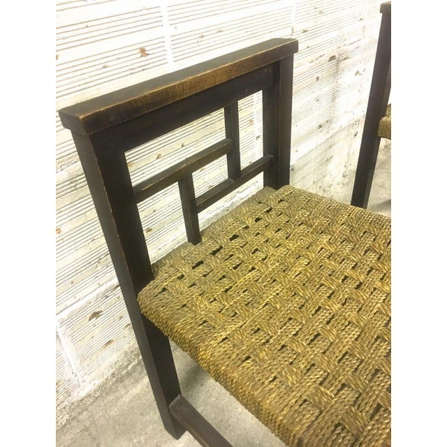 Francis Jourdain Francis Jourdain Modernist Bauhaus Style Pair of Oak and Rope Chairs For Sale - Image 4 of 5
