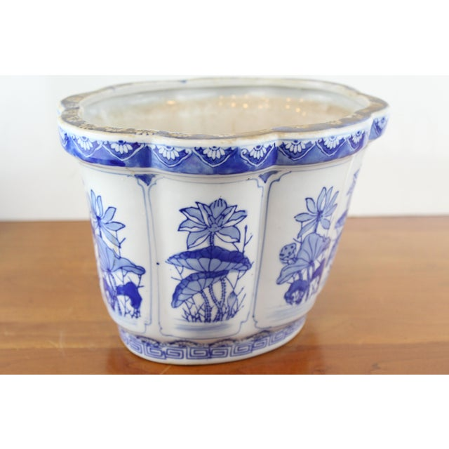 Vintage Mid Century Floral Chinese Planter For Sale - Image 4 of 8