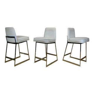 1970s Vintage Tri-Mark Vinyl and Chrome Bar Stools - Set of 3 For Sale