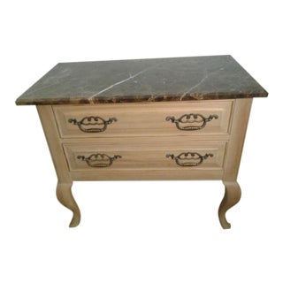 Late 20th Century Vintage Thomasville Oak and Marble Nightstand For Sale