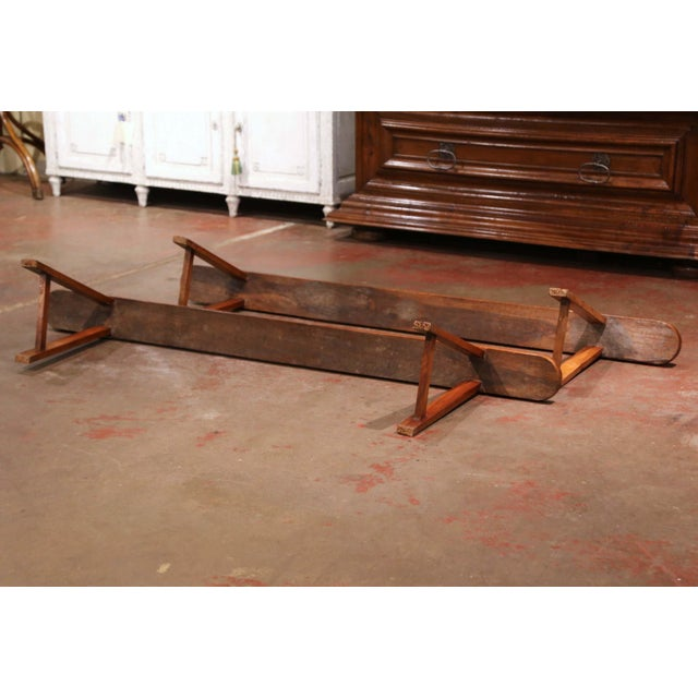Brown Pair of 19th Century French Provincial Carved Cherry Wood Trestle Benches For Sale - Image 8 of 10