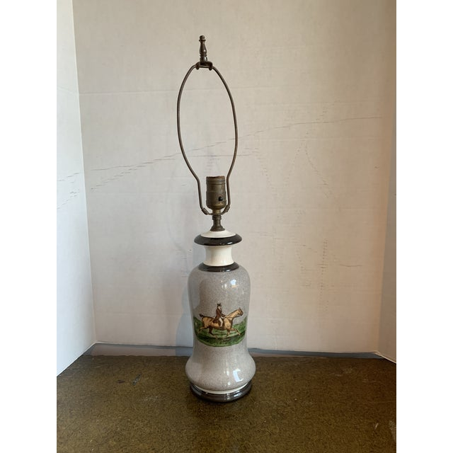 1950s Equestrian Decal Table Lamp For Sale In Raleigh - Image 6 of 6