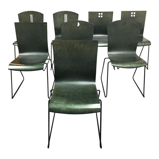 Leland International Green Stackable Chairs - Set of 8 For Sale