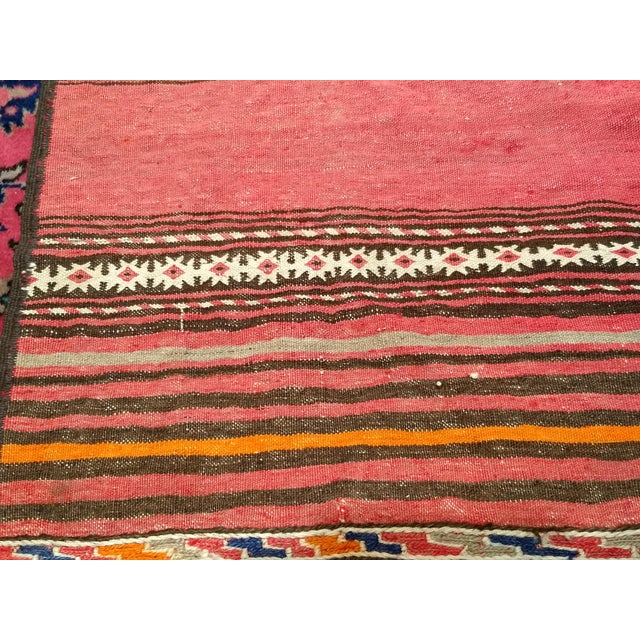 1950s Moroccan Red and Orange Wool Kilim Runner - Image 5 of 9