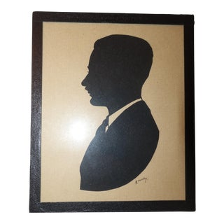 Antique Hand Cut Silhouette of Man With Mustache For Sale