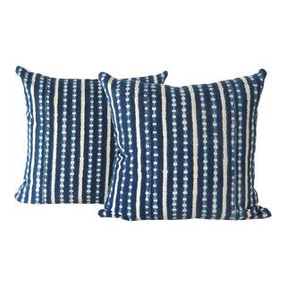 African Burkina Faso Indigo Mudcloth Pillows - a Pair For Sale