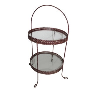 Red Two-Tier Metal Baked Goods Stand For Sale